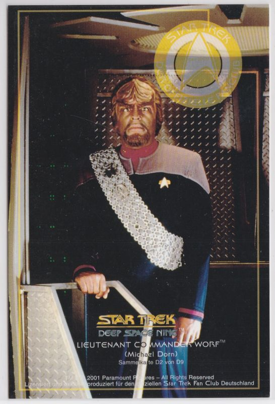 Star Trek Deep Space Nine Michael Dorn Lieutnant Commander Worf Karte D2 von D9