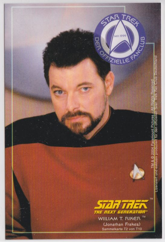 Star Trek The Next Generation Jonathan Frakes William T. Riker Sammelkarte T2 von T10