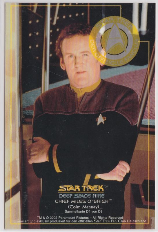 Star Trek Deep Space Nine Colm Meaney Chief Miles O'Brien Sammelkarte D4 von D9
