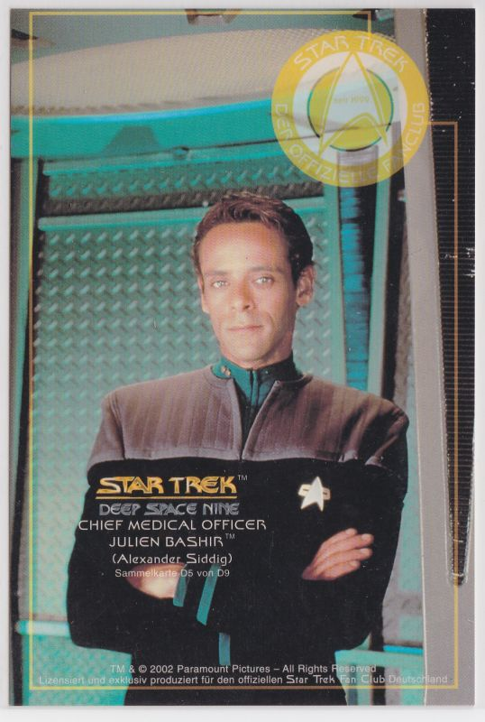 Star Trek Deep Space Nine Alexander Siddig Chief Medical Officer Julien Bashir Sammelkarte D5 von D9