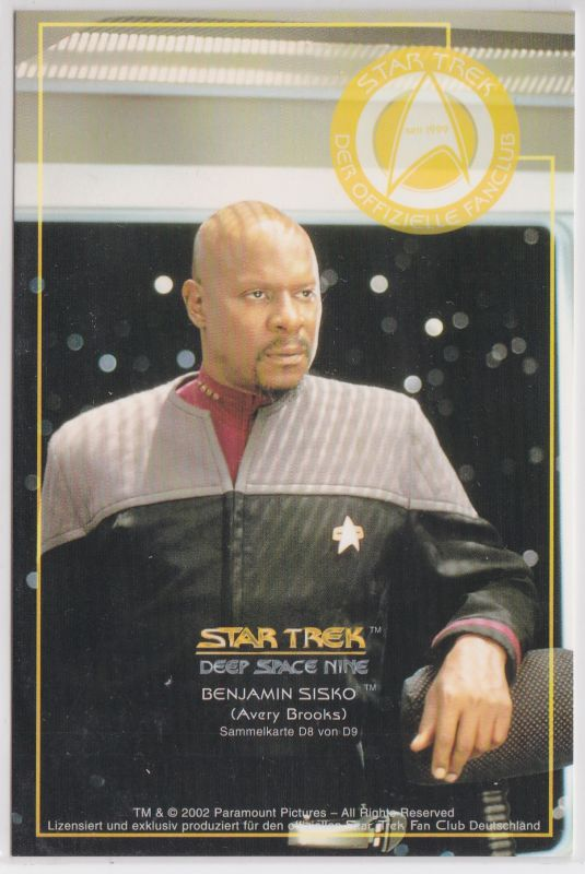 Star Trek Deep Space Nine Avery Brooks Benjamin Sisko Sammelkarte D8 von D9