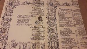 Speisenkarte - wohl keine Getränke verzeichnet - D'VIJJF VLIEGHEN Amsterdam anno 1627 - Spuistraat 294-302 - SINGEL 449 - D'Ridderzaal, Rembrandtzaal, Moeder Hendrina, Glaszaal, Prentenzaal, Bruidskamer D'VIJFF VLIEGHEN