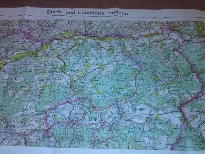 Landkarte Stadt Und Landkreis Iserlohn Reg Bez Arnsberg 1 50000 In 8 Farben Herausgegeben Landesvermessungsamt Nordrhein Westfalen Z