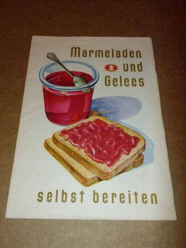 """""""Marmeladen und Gelees selbst bereiten - Dr. Oetker Gelier-Hilfe für Marmeladen und Gelees - anbei (hinten als Innenklappe der letzten Seite): Heraustrennbare Etiketten 4 grün + 4 blau """"""""...Ihr Einmachgut zu kennzeichnen..."""""""" -..."""