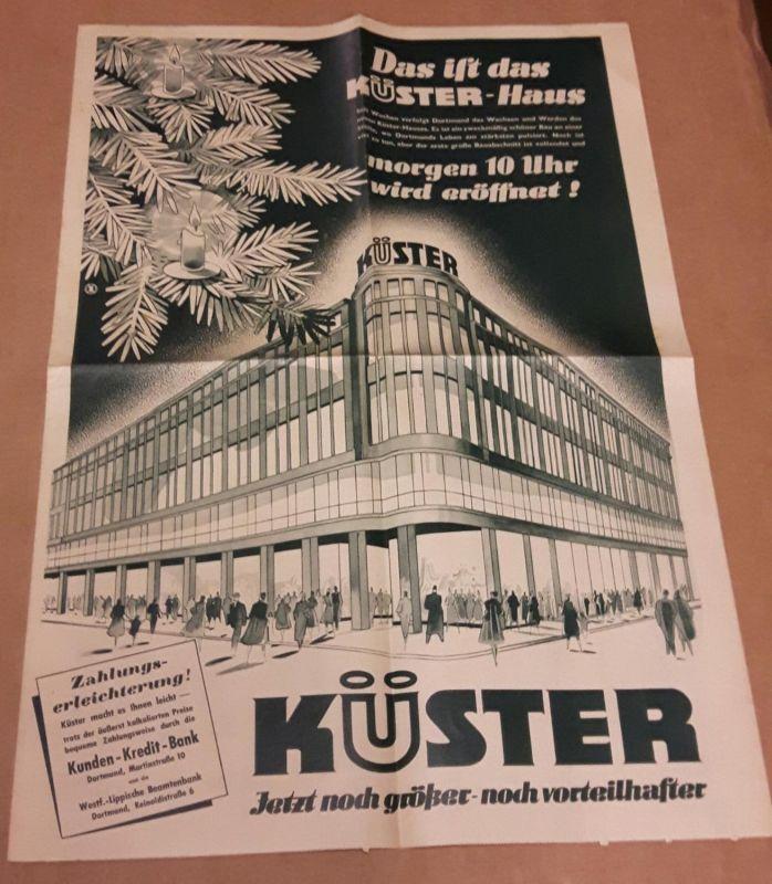 Das ist das Küster-Haus - Dortmund, Hansastrasse 55 - großes Faltblatt/Katalog. Wohl 1950er Jahre. Küster (Hrsg.)