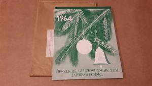 Kalender 1964 Herzliche Glückwünsche zum Jahreswechsel von der Firma Junghans-Wolle aus Aachen - die einzelnen Monate haben als Motiv versch. Junghans-Modelle/Teppiche mit Anleitung zur Herstellung auf der Rückseite - Bestellscheine vorhanden - letzte ...