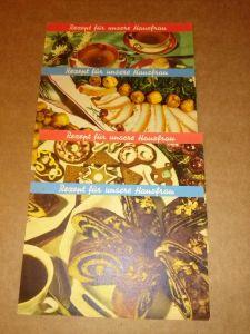 """""""4 Einzelkarten """"""""Rezept für die Hausfrau"""""""": Mohnstrudel - Kleine Pfefferkuchen - Grünkohl mit Schweinebacke - Blätterteigpastetchen mit feinem Ragout - Front mit Farbfoto d. Gerichts, Rückseite jeweils mit Rezept inkl. Edelram..."""