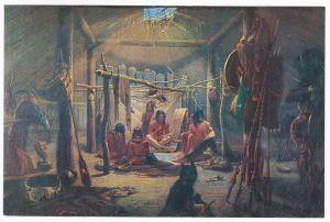 Sammelbild Europa-Bilderdienst Serie Unter Indianern Nr. 6 Indianer - Sammelbild - Europa-Bilderdienst - Serie: Unter Indianern Nr. 6 Im Häuptlingshaus