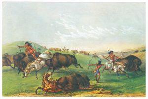 Sammelbild Europa-Bilderdienst Serie Unter Indianern Nr. 9 Indianer - Sammelbild - Europa-Bilderdienst - Serie: Unter Indianern Nr. 9 Bisonjagd