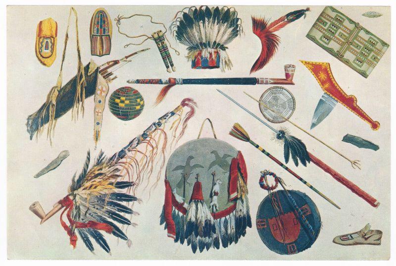 Sammelbild Europa-Bilderdienst Serie Unter Indianern Nr. 31 Indianer - Sammelbild - Europa-Bilderdienst - Serie: Unter Indianern Nr. 31 Pfeifen, Federn und Waffen