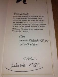 Speisenkarte Silvester 1981 Hotel Zur Dechenhöhle - Familie Ellebrecht-Wilms und Mitarbeiter - anbei innenliegende Rechnung Silvester 1981 Familie Ellebrecht-Wilms (Hrsg.)