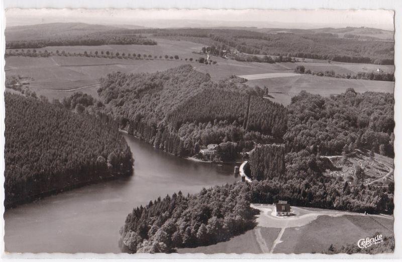 AK Gasthaus Fürwiggetalsperre Inh. A. Klockenbusch Brügge Neuemühle Lüdenscheid Luftbild 1959 gelaufen