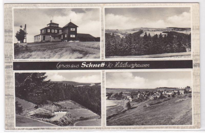 AK Gruss aus Schnett Kreis Hildburghausen Mehrbildkarte 1966 gelaufen