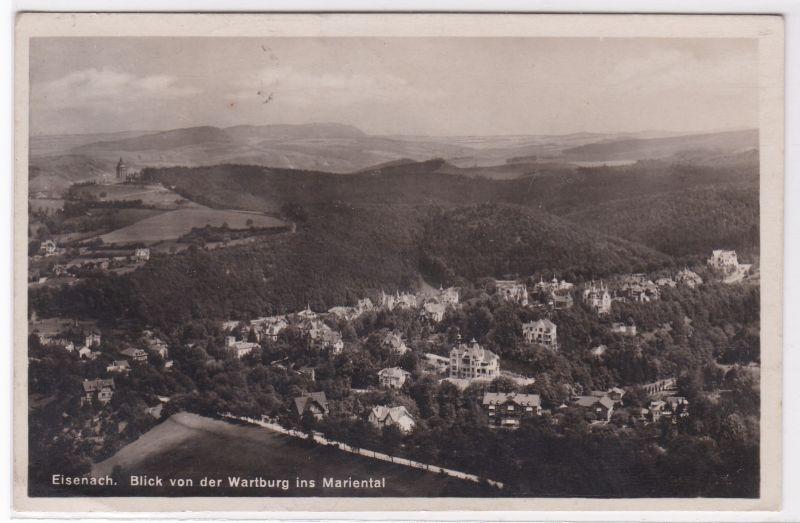 AK Eisenach Blick von der Wartburg ins Mariental 1927 gelaufen