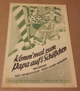 Komm' mal zum Papa auf's Schößchen - Walzerlied - Text: Heinz Schüler - Musik: Alfred Kapplusch - Noten und Text Schüler / Kapplusch