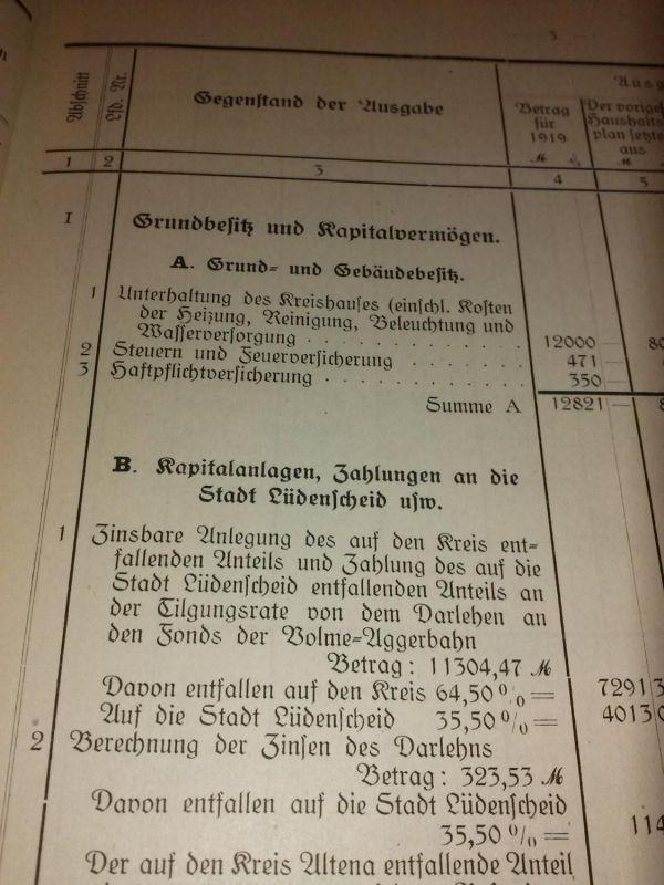Haushaltspläne des Kreises Altena für das Rechnungsjahr 1919 - viele Zahlen, Daten, Fakten und Tabellen Kreisausschuß Kreis Altena (Hrsg.)