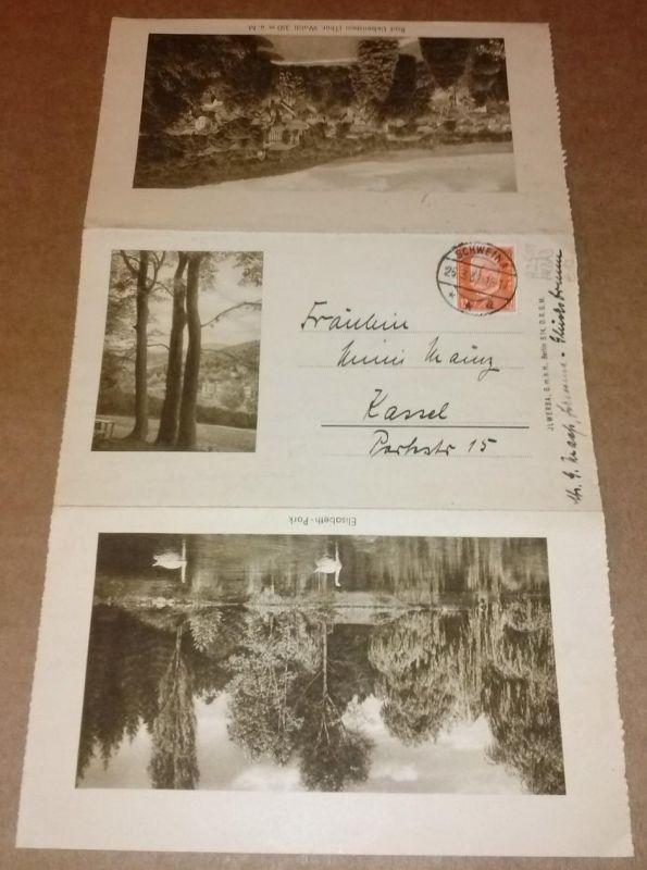 """""""Faltbrief Faltkarte Bad Liebenstein - postalisch 1932 gelaufen, beschrieben - zeigt insgesamt 4 Ansichten: 1. unbetitelt, 2. Elisabeth-Park, 3. Bad Liebenstein Thür. Wald (Totale) und 4. Kurhaus, Hotel """"""""Der Kaiserhof"""""""" - Brie..."""
