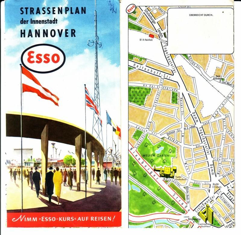 ESSO Strassenplan der Innenstadt Hannover - farbig und beids. bedruckt - Maßstab 1:12000 Innenstadt - Maßstab 1:30000 Hannover Durchfahrtplan - zudem kl. Karte Messegelände Esso (Hrsg.)