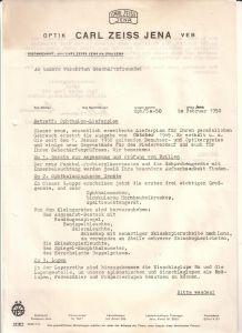 Konvolut VEB Optik Carl Zeiss Jena 1950 - 1. Schreiben Februar 1950 Betr. Ophthalmo-Lieferplan - 2. Ophthalmo-Lieferplan 1950 inkl. Benennung, Benutzerpreis, Optikerpreis, Bestellnummer und Liefertermin - keine Abbildungen Carl Zeiss Jena (Hrsg.)