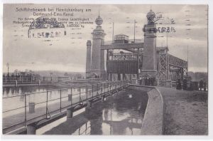 AK Schiffshebewerk bei Henrichenburg Dortmund-Ems-Kanal 1910 gelaufen