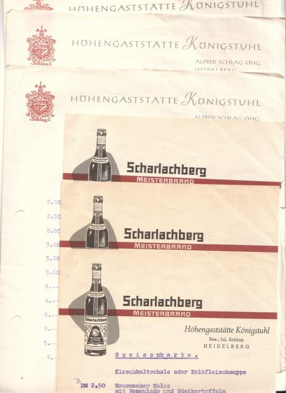 Schreiben vom 15. August 1957 bzgl. Mittagessen Sängerreise nach Heidelberg Höhengaststätte Königstuhl Alfred Schlag OHG. Heidelberg - anbei Speisenkarte vom 7. August, 6. August, 27. Juli (Werbung Scharlachberg Meisterbrand), 16. Juli (Werbung Scharla...