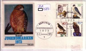 Ersttagsbrief folio-print 6.2.1973 Jugendmarken 1973 - Greifvögel - 4 Werte gestempelt - 1 Stempel blanko - auf Umschlag - ungelaufen