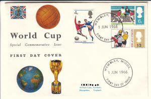 World Cup Special Commemorative Issue First Day Cover - Wembley, Middox. 1 Jun 1966 First day of issue - World Cup 1966 - 3 Werte gestempelt - 1 Stempel blank - auf Umschlag - ungelaufen