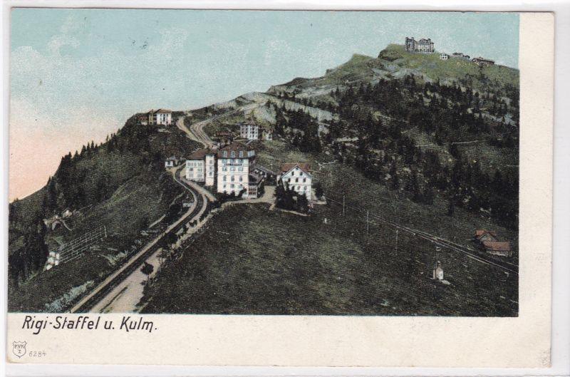 """AK Rigi-Staffel und Kulm umseitig mit Stempel """"Hotel&Pension Dr. Friedrich Schreiber's Fam"""" 1913 gelaufen"""
