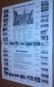 Beidseitig bedrucktes Poster/Plakat, in der Mitte gefaltet und einfach aufklappbar - Rückseite mit Überschrift: Einkaufszentrum Letmathe, am Rand umlaufend kl. Fotos und Anschriften der beteiligten Unternehmen, unten kurzer Werbe-/Infotext, Farbfoto au...