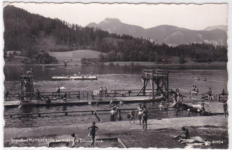 AK Strandbad Putterersee bei Aigen im Ennstal Steiermark, wohl 1956 gelaufen