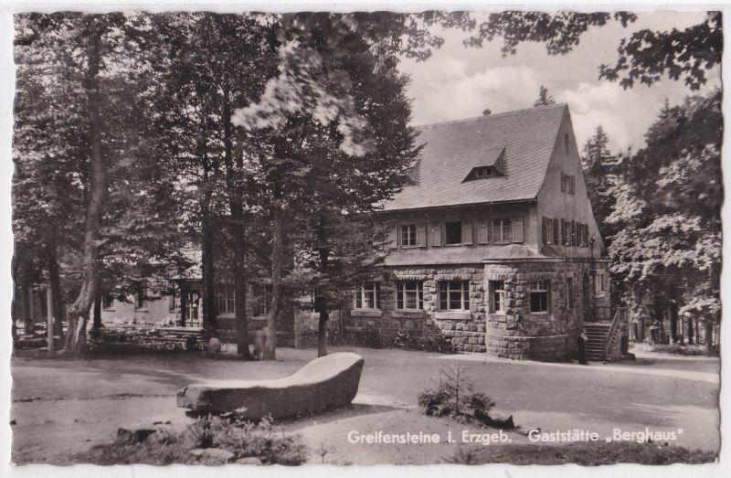 AK Ehrenfriedersdorf Greifensteine Erzgebirge Gaststätte Berghaus 1961 gelaufen