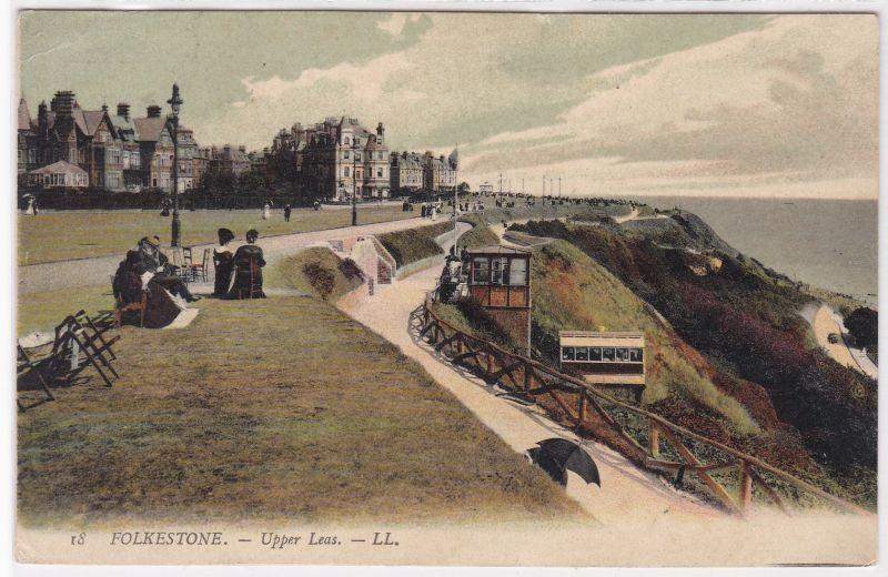 AK Folkestone - Upper Leas 1909 gelaufen