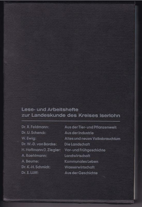 Lese- und Arbeitshefte zur Landeskunde des Kreises Iserlohn. Es sind alle 9 Broschüren im Originalschuber vorhanden. Dr. R. Feldmann: Aus der Tier- und Pflanzenwelt (Letmathe, 1968) - Dr. U. Schenck: Aus der Industrie (Letmathe 1970) - W. Ewig: Altes u...