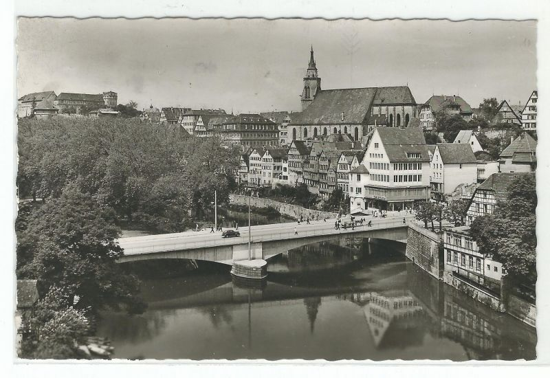 AK Tübingen Cafe Konditorei Restaurant Milchbar Neckartor an der Neckarbrücke 1955 gelaufen
