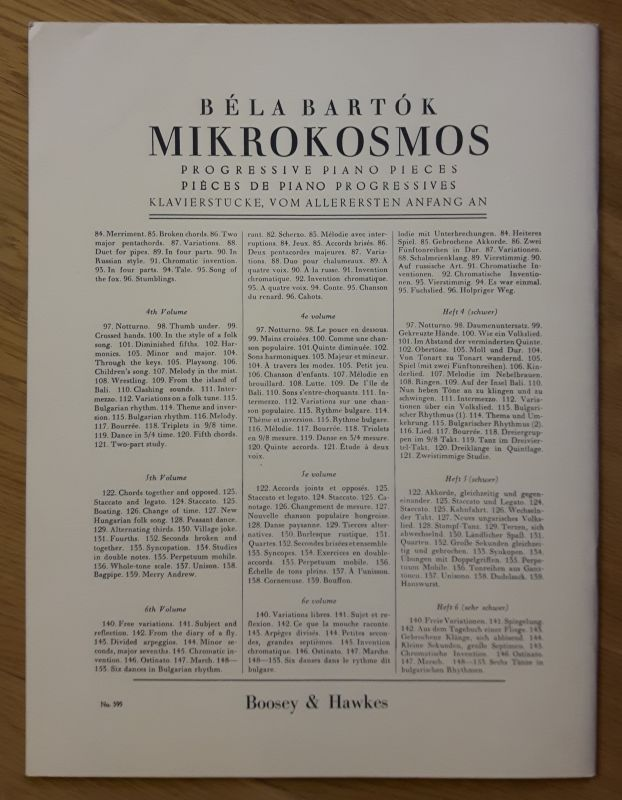 Winthrop Rogers Edition - Bela Bartok - Mikrokosmos - Piano Solo VOL. III. Klavierstücke, vom allerersten Anfang an. Deutsch, englisch, französisch. Noten und Übungen. 1