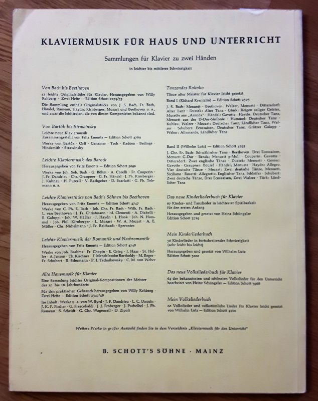 Das neue Sonatinenbuch - Sonatinen und Stücke für Klavier. Piano. Edition Schott Band II [Band 2, zwei] 2512. Herausgegeben von Martin Frey. Nur Noten! 1