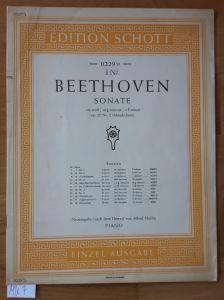 Beethoven Sonate. op. 27 Nr. 2 (Mondschein). Neuausgabe (nach dem Urtext) von Alfred Hoehn. PIANO. Edition Schott 0229 ½ EINZEL-AUSGABE. Nur Noten. Um 1952 zu datieren.