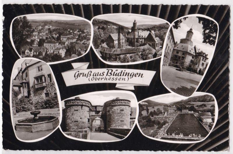AK Gruß aus Büdingen Oberhessen Mehrbildkarte Schwimmbad Freibad Ortsansicht 1960 gelaufen