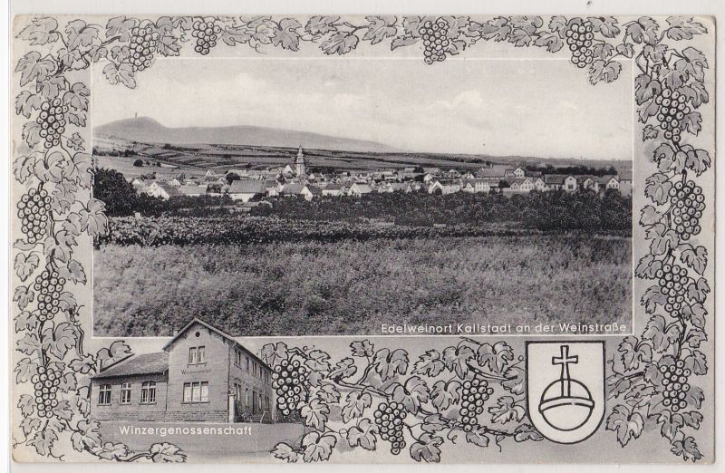 AK Passepartoutkarte Edelweinort Kallstadt an der Weinstraße Ortsansicht Winzergenossenschaft Zweibildkarte Winzerwirt Rudolf Krauss 1957 gelaufen