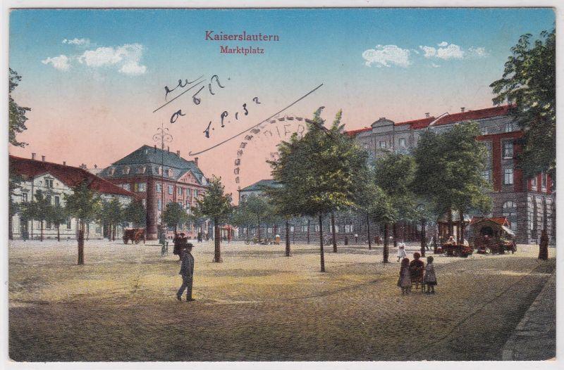AK Kaiserslautern Marktplatz Kutsche 1922 gelaufen