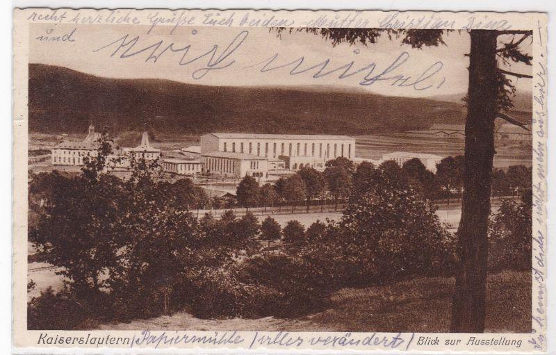 AK Kaiserslautern Blick zur Ausstellung Halle 1939 gelaufen