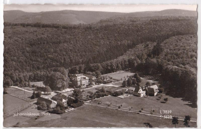 AK Johanniskreuz Pfalz Gasthaus Pension Hch. Braband Trippstadt Luftbild 1961 gelaufen