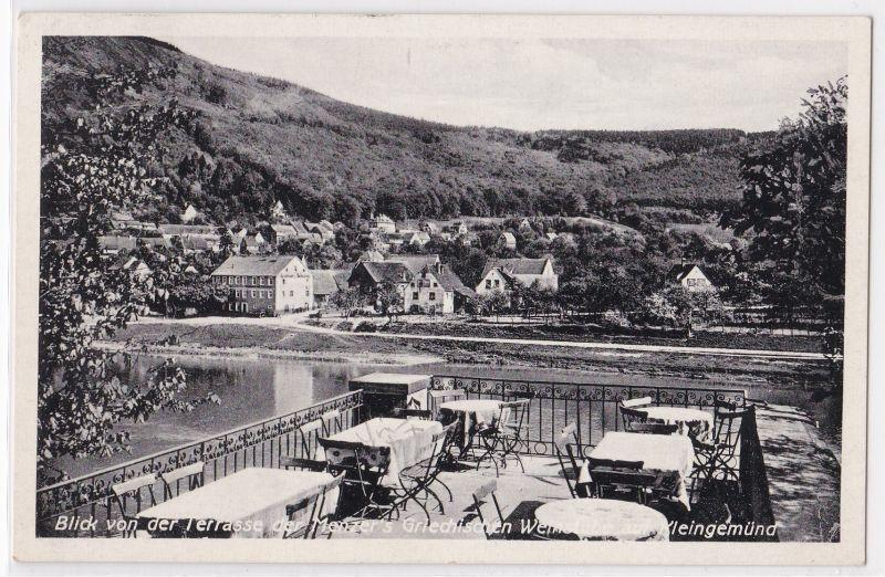 AK Neckargemünd, Blick von der Terrasse Menzers Griechische Weinstube auf Kleingemünd, Bes. Luc. Beuttner, ZUR STADT ATHEN, 1935 gelaufen