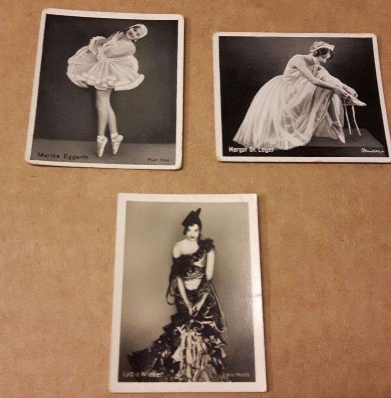 Sammelbilder Konvolut - 3 Bilder - Der künstlerische Tanz Gruppe 12 Tanz-Artistik - Nr. 265 Lydia Wiser, 272 Margot St. Leger, 279 Martha Eggerth (Preis gilt für alle Bilder zusammen)