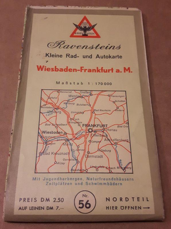 Ravensteins Kleine Rad- und Autokarte Wiesbaden-Frankfurt a. M. - Radkarte Autokarte Wiesbaden Frankfurt am Main - Maßstab 1:170000 - mit Jugendherbergen, Naturfreundehäusern, Zeltplätzen und Schwimmbädern - Nr. 56 - mit Legende - Mehrfarbendruck Mehrf...