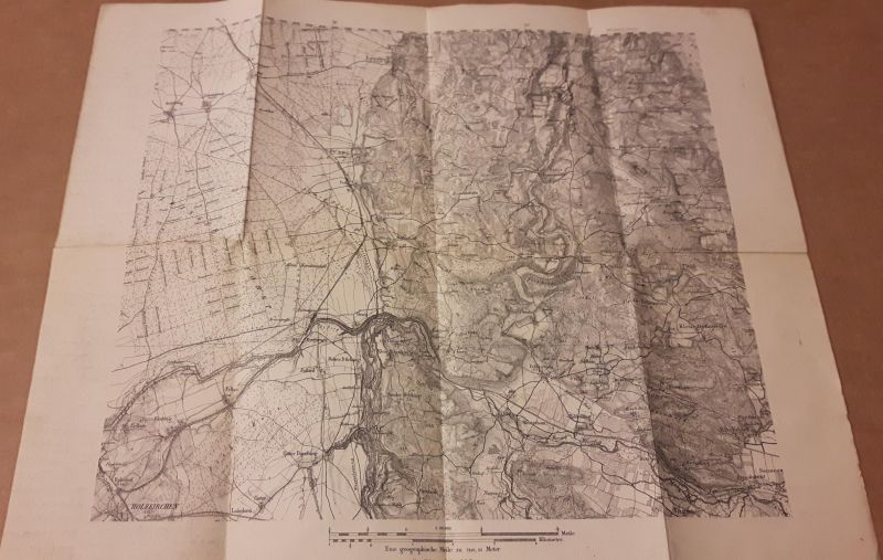 Karte Landkarte Maßstab 1:50000 - im Norden Wildenholzen, im Osten Klein Höhenrain, im Süden Narring, im Westen Foldinger Forst Holzkirchen - eine geographische Meile zu 7419,53 Meter - sonst keine weiteren Angaben