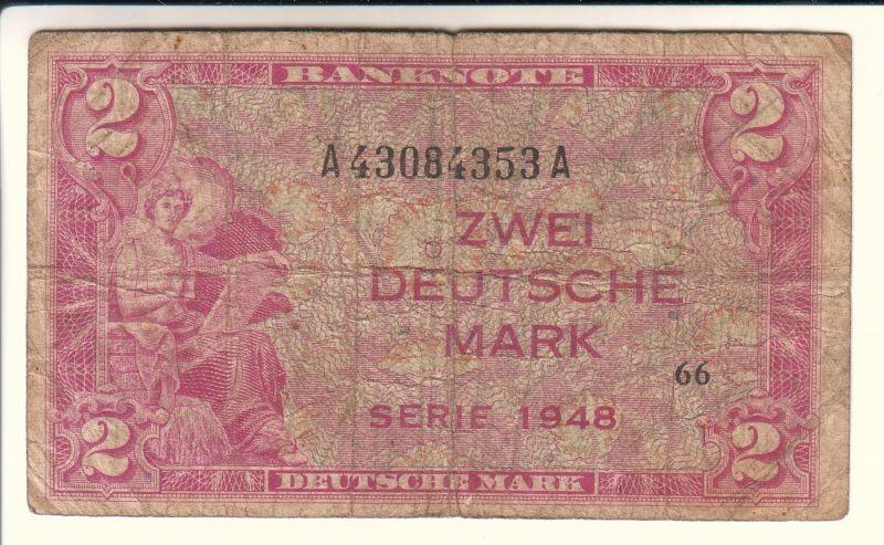 Banknote A43084353 A - Zwei Deutsche Mark Serie 1948 - bez. mit 66 - rötlich