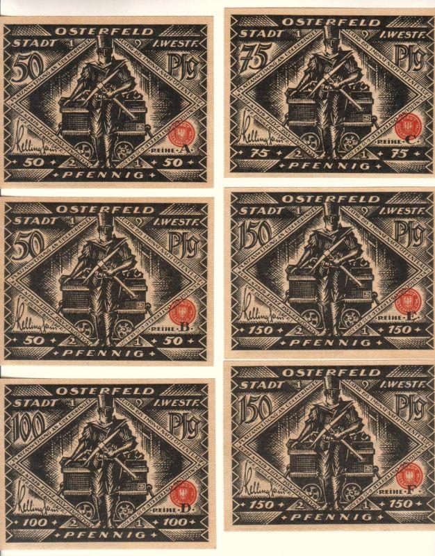Notgeldserie mit 6 Werten der Stadt Osterfeld i.W. - komplette Serie/Scheine (6 Werte: 2x50 Pfg., 2x75 Pfg., 1x100 Pfg. und 2x150 Pfg.) - Zeichnungen: Josef Domenicus, Paderborn - keine Geldtasche
