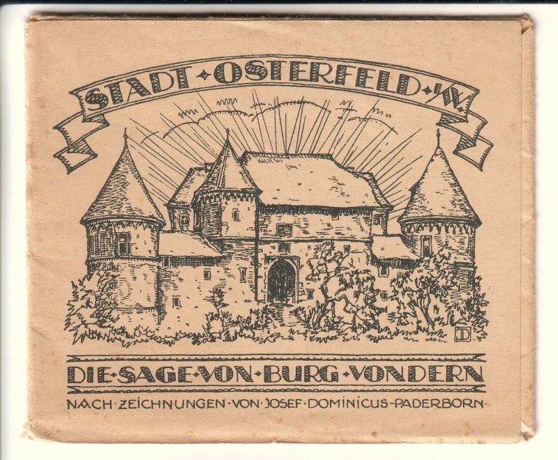 Notgeldserie mit 10 Werten der Stadt Osterfeld i.W. - Die Sage von Burg Vondern - nach Zeichnungen von Josef Domenicus, Paderborn - komplette Serie/Scheine (3x25 Pfg., 3x50 Pfg., 3x75 Pfg. und 1x100 Pfg.) mit Geldscheintasche (=OVP) - OVP innen mit  von 1