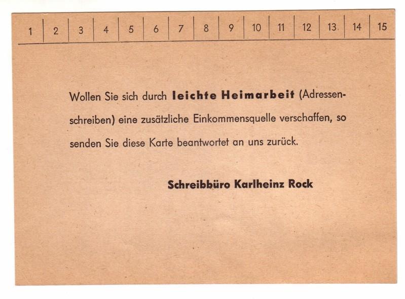 Firmenpostkarte / Werbekarte - Schreibbüro Karlheinz Rock Düsseldorf Friedrichstraße 28a < Wollen Sie sich durch leichte Heimarbeit (Adressenschreiben) eine zusätzliche Einkommensquelle verschaffen, so senden Sie diese Karte beantwortet an uns zurück. ...